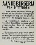 IA-1940-0048 Aan de burgerij van Rotterdam betreffende de beschadiging van de openbare schuilgelegenheden.
