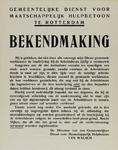 IA-1940-0051 Gemeentelijke dienst voor maatschappelijk hulpbetoon te Rotterdam. Bekendmaking inzake de vernieuwing van ...