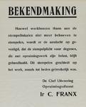 IA-1940-0052 Bekendmaking van ir. C. Franx over stempelplicht.