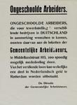 IA-1940-0054 Ongeschoolde arbeiders. Tewerkstelling in Duitsland. De Directie der Gemeentelijke Arbiedsbeurs.