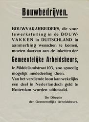 IA-1940-0054D Havenarbeiders. Tewerkstelling in Duitsland. De Directie der Gemeentelijke Arbeidsbeurs.