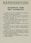 IA-1940-0055 Kennisgeving. Jeugdhulp voor de Landbouw. De Directie der Gemeentelijke Arbeidsbeurs.