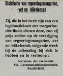 IA-1940-0059 Distributie van regeeringsmargarine, -vet en -blikvleesch. Secretarie der gemeente, afd. ...