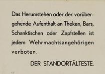IA-1940-0066 Das herumstehen oder der vorübergehende Aufenthalt an Theken .... ist jeden Wehrmachtsangehörigen ...