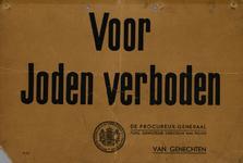 IA-1940-0067 Voor Joden verboden. Stempel van de Procureur-Generaal bij het Gerechtshof te 's Gravenhage. De ...