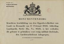 IA-1940-0071 Monumentenzorg. Beschikking voor Museum Boymans Rotterdam. Krachtens beschikking van den Opperbevelhebber ...