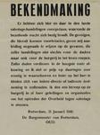 IA-1941-0007 Bekendmaking van de Burgemeester tegen Sabotage-handelingen. 21 Januari.