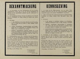 IA-1941-0014 Bekanntmachung. Kennisgeving van Weermachtbevelhebber in Nederland, Fr. Christiansen, Generaal der ...
