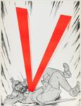 IA-1941-0050 V. [Jood, in personificatie van Samson, met ster getroffen door een V].