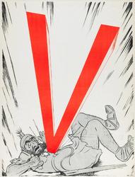 IA-1941-0050A V. [Jood, in personificatie van Samson, met ster getroffen door een V].