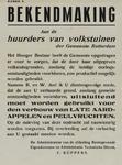 IA-1941-0077 Raadhuis kamer 9. Bekendmaking. Aan de huurders van Volkstuinen ...