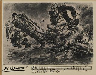 IA-1941-0100 Ei Uchnjem. [spotprent met Roosevelt, Churchill en Stalin]