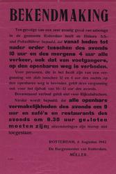 IA-1942-0052 Bekendmaking van burgemeester over sluiting der openbare vermakelijkheden, café's en restaurants om 9.30 ...