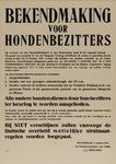 IA-1943-0013 Bekendmaking 5 januari, voor hondenbezitters. 9 januari Feyenoord Stadion, alwaar honden aan keuring, ...