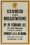 IA-1943-0021A Eenheid tegen Bolsjewisme. Op 20 Februari a.s. te Rotterdam in gebouw Odeon spreekt J.H.L. de Bruin.