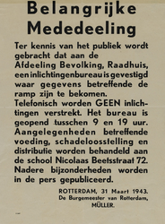 IA-1943-0024 Belangrijke mededeeling. Ter kennis van het publiek wordt gebracht dat aan de Afdeeling Bevolking, ...