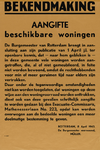 IA-1943-0043 Bekendmaking (v.d. burgemeester) aangifte beschikbare woningen. 8 April.