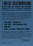 IA-1943-0044 Tweede bekendmaking. Betreffende het afhalen van huisraad afkomstig uit het getroffen stadsdeel. 10 April 1943.