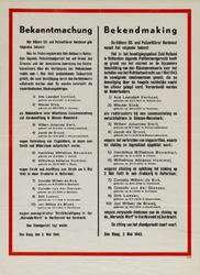 IA-1943-0052 Bekanntmachung - bekendmaking van de Höhere S.S - und Polizeiführer Nordwest betreffende het veroordeelen ...