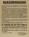 IA-1943-0057 Bij Luchtalarm moet van de straat af. Bekendmaking (van den politie-president J.J. Boelstra) over dekking ...