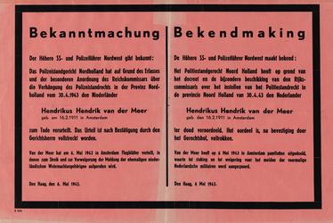 IA-1943-0061 Bekanntmachung - Bekendmaking van de Höhere S.S. - und Polizeiführer Nordwest over de ter dood ...