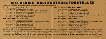 IA-1943-0066 Inlevering radio-ontvangtoestellen. Op de in de desbetreffende bekendmaking aangegeven inleveringsbureaux ...