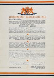 II-0000-0243 Herdenking Mobilisatie 1914. Landgenooten. Wij willen vrede. 's-Gravenhage 30 Juli 1924. Namens het ...