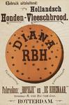 II-0000-0270 Rotterdamsche Broodbakkerij De Nijverheid. Gebruik uitsluitend Hollandsch Honden-Vleeschbrood. Diana. RBH. ...