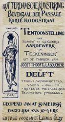 II-0000-0311 Rotterdamsche Kunstkring. Boven-der Passage, Korte Hoogstraat. Blaauw en gekleurd aardewerk en teekeningen ...