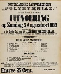 II-0000-0445 Rotterdamsche Zangvereeniging Polyhymniae. Directeur de Heer A.C. Stumpf. Uitvoering op zondag 5 augustus ...