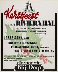 II-1942-0009 Diergaarde Blijdorp. Kerstfeest in de Rivièra-Hal. 25,26 en 27 December 1942. Josée Sann, zang; Ballet ...