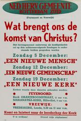 II-1943-0016 Ned. Herv. Gemeente Rotterdam Zuid. Wat brengt ons de komst van Christus? 5, 12, 19 December. Feyenoord en ...