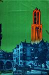 VIII-1955-0415 Gedrukte aquarel van een Utrechtse gracht met Domtoren ter promotie van de stad Utrecht, uitgebracht ...