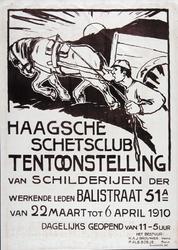 X-0000-0011 Haagsche Schetsclub. Tentoonstelling van schilderijen der werkende leden, Balistraat 51A van 22 Maart tot 6 ...