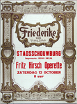 X-0000-0021 Friederike von Franz Lehar. Stadsschouwburg Fritz Hirsch Operette, Zaterdag 12 October.