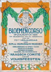 X-0000-0529 Bloemencorso op 2 Augustus 1928 ter gelegenheid van de herdenking van de 70ste verjaardag van H.M. de ...