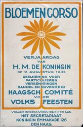 X-0000-0530 Bloemencorso. Verjaardag van H.M. de Koningin op 31 Augustus 1935. Haagsch Comité voor Volksfeesten.
