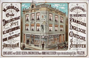 X-0000-0545 M. Jacobson. Oude Doelenstraat No. 11 Amsterdam. Goederen naar maat. De nieuwste Fransche, Engelsche en ...
