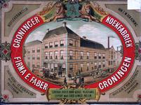 X-0000-0554 Groninger Koekfabriek Firma E. Faber Groningen. Generaal debiet door geheel Nederland. Export naar Oost & ...