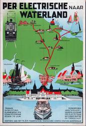 XIII-1960-0071 Per Electrische naar Waterland. Rondreizen Amsterdam - Marken, Volendam per electr. tram, motorboot, ...