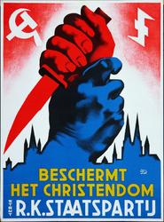 XV-1962-0071 R.K. Staatspartij. Beschermt het Christendom. Stemt R.K. Staatspartij.