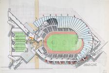 2003-1165 Tekeningen en ontwerpen van het Olympisch Stadion en het Olympische zwembad bij Ahoy'. Getoond worden de ontwerpen.