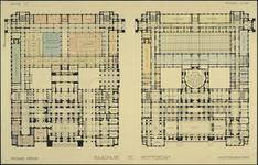 XII-34-01-79 Ontwerp voor het stadhuis te Rotterdam [niet uitgevoerd]: plattegrond begane grond en hoofdverdieping.