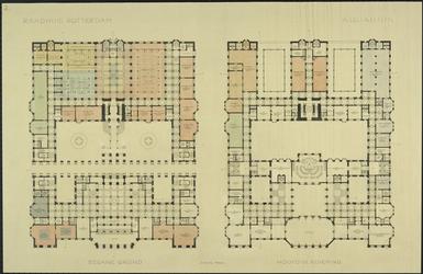 XII-34-01-81 Ontwerp voor het stadhuis te Rotterdam [niet uitgevoerd]: plattegrond begane grond en hoofdverdieping.
