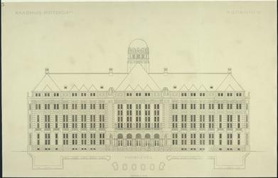 XII-34-01-84 Ontwerp voor het stadhuis te Rotterdam [niet uitgevoerd]: voorgevel.