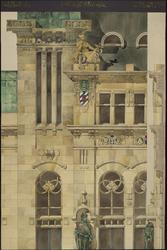 XII-34-01-91 Ontwerp voor het stadhuis te Rotterdam [niet uitgevoerd]: travee voorgevel met doorsnede.