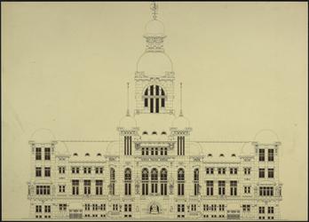 XII-34-01-94 Ontwerp voor het stadhuis te Rotterdam [niet uitgevoerd]: voorgevel.