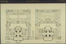 XII-34-01-99 Ontwerp voor het stadhuis te Rotterdam [niet uitgevoerd]: plattegrond hoofdverdieping en tweede verdieping.