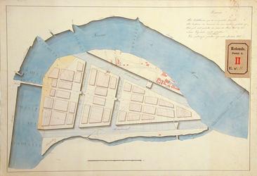 RT-G-FN11 Kaart van het eiland Feijenoord met het ontwerp van een hang- of kettingbrug over de Maas, de voorgestelde ...