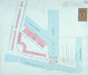 RT-G-FN115-1 Tekening van de terreinen tussen de Koningshaven en de Entrepôthaven met daarop een pakhuis en sheds aangegeven.